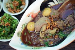 Boat noodles or kuai tiao ruea is a Thai style noodle Royalty Free Stock Images