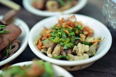 Boat noodles or kuai tiao ruea is a Thai style noodle Royalty Free Stock Photos