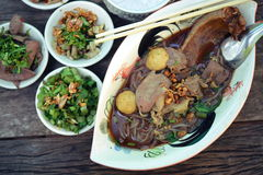 Boat noodles or kuai tiao ruea is a Thai style noodle Stock Photography