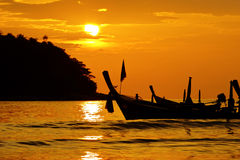 Boat at the ocean. Beautiful Thai boat in ocean Royalty Free Stock Image