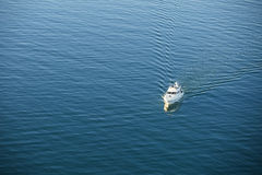 Boat on ocean aerial Royalty Free Stock Photography