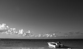 Boat on ocean black and white Stock Image