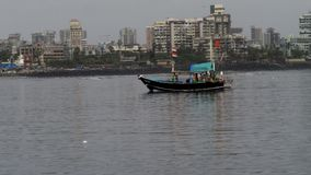 Boat in the ocean. Ferry running in the sea in mumbai Royalty Free Stock Images