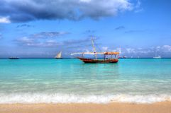 Boat in ocean Stock Image