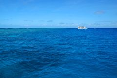 Boat in the ocean in Great Barrier Reef Royalty Free Stock Photo
