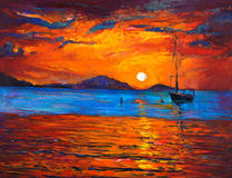 Boat and ocean. Original oil painting of boat and sea on canvas. Rich golden sunset over ocean.Modern Impressionism Royalty Free Stock Images