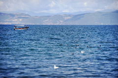 Boat on Ohrid Lake Royalty Free Stock Photo