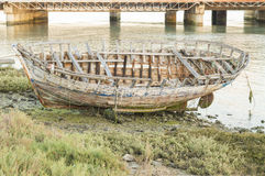 Boat. Old fishing boat on the river bank Stock Image