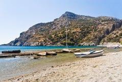 Boat On Mediterranean Beach Stock Photo