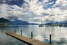 Boat On Swiss Lake, Zug, Switzerland Royalty Free Stock Photos