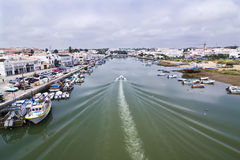 Boat On Tavira Sea Channel Stock Image