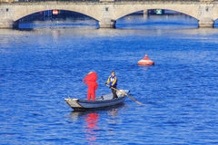 Boat On The Limmat River During Samichlaus-Schwimmen Event Stock Images