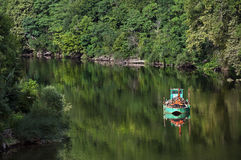 Boat On The River In The Dordogne Royalty Free Stock Photos
