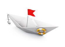 Boat out of paper with an anchor and a lifeline on a white backg. Round. 3d render image Stock Images