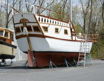 Boat out of water Royalty Free Stock Photo