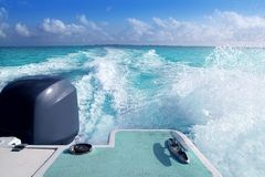Boat outboard stern with prop wash caribbean foam. Boat outboard stern with prop wash foam caribbean sea Stock Images