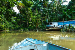Boat over Marajo Canal in Belem do Para, Brazil.  Royalty Free Stock Photos