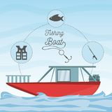 Boat over sea with fishing equipment. Vector illustration Stock Image