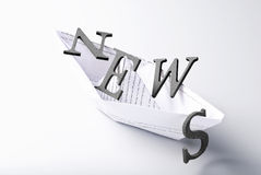 Boat overloaded with News Stock Photo