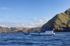 Boat and Padar Island royalty free stock images