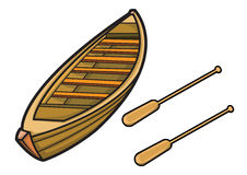 Boat with Paddle Illustration. Isolated Background Stock Images