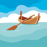 Boat with a paddle on the water. Day. royalty free illustration