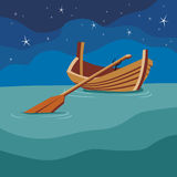 Boat with a paddle on the water. Night. On the waves swinging the boat on the background of the night sky. A Vector Format Stock Images