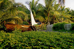 Boat with palm garden Stock Photo