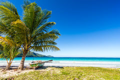 Boat by palm tree on one of the most beautiful tropical beaches in Caribbean, Playa Rincon. Near Las Galeras, Dominican Republic Royalty Free Stock Image