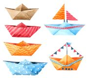 Boat Paper Cartoon watercolor isolated on white background , Hand drawn character for Kids, Greeting Card , Cases design, vector illustration