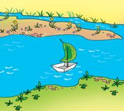 Boat. Paper boat floating in the brook Royalty Free Stock Photography