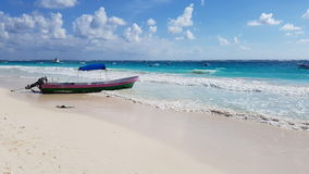 Boat on Paradise Beach, Tulum Royalty Free Stock Photography