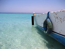 Boat on the paradise island Stock Photos