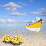 Boat in the paradise. Boat near a lonely beach in the paradise Royalty Free Stock Photos
