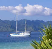 Boat at Paradise Tropic Island. Stock Photo