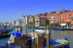 Boat parcel delivery in Venice Stock Images