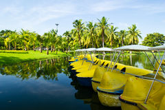 The boat in the park. The boat in the rama 9 park thailand royalty free stock image