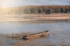 Boat park near lake. Stock Photo