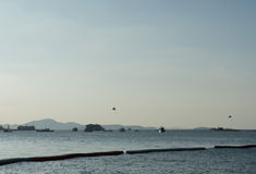 Boat park in the sea with parachute marine sport Royalty Free Stock Photo