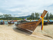 Boat park at sea shore. With cloudy weather Royalty Free Stock Photography