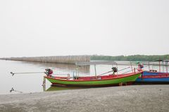 The boat parked in the mangrove forest where the floods were the royalty free stock photos
