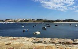 Boat parking on Douro River, Porto Royalty Free Stock Photos