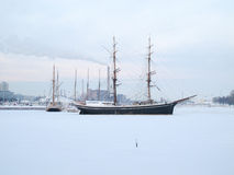 The boat parking in the frozen sea Royalty Free Stock Images