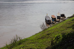 The boat parking near riverside in Mekong river Stock Images