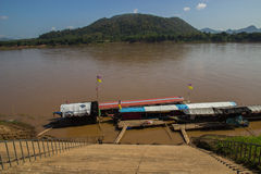 The boat parking near riverside in Mekong river Stock Photography
