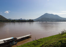 The boat parking near riverside in Mekong river Royalty Free Stock Images