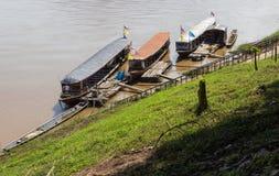 The boat parking near riverside in Mekong river Stock Image