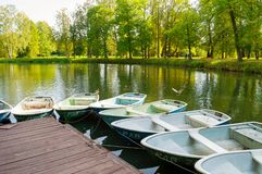 Boat parking at the Pavlovsk Park territory in Pavlovsk, St Petersburg, Russia royalty free stock image
