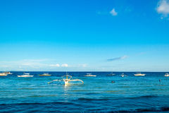 Boat Parking. Series of boats parked in white beach panglao island philippines Stock Photography