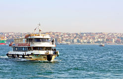 Boat with passengers, Istanbul, Turkey royalty free stock photography